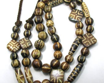 59 beads handmade Asian mix contemporary pumtek  etched bead Petrified Wood Bead fossil palm wood beads length 42 inches