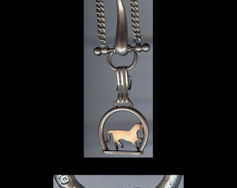Great antique HALLMARKED silver equestrian horse WATCH FOB