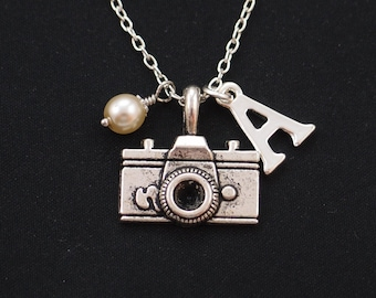 camera necklace, sterling silver filled, initial necklace, Swarovski pearl choice, silver camera charm,photography necklace, vacation,travel