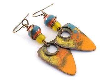 Handmade Earrings, Enameled Earrings, Orange and Turquoise Earrings, Triangle Earrings, Artisan Earrings, Boho Earrings, Copper, AE166