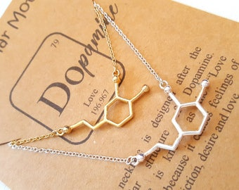 Dopamine Molecule Necklace-Handcrafted Molecule Jewelry-Love-Passion-Psychology Gift-Anniversary Gift-Science Graduation Gift