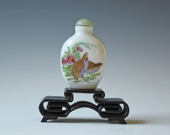 vintage milk glass Chinese snuff bottle painted with fowls and flowers