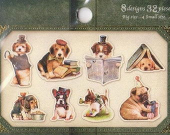 Dog Stickers - Tracing Paper Stickers - Q-Lia Flake Stickers - Set of 32 - Reference H3471