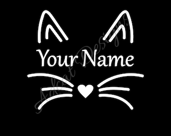 Cat Ears and Whiskers with Custom Name Vinyl Decal (WHITE)