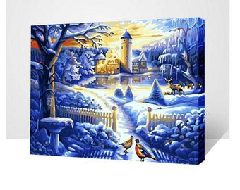 Paint by Number Kit STRETCHED CANVAS Wood Frame 16x20 Lighthouse Snow Scene GX6972