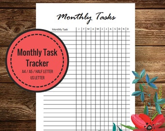 Monthly Tracker, Routine Chart, Habit Tracker, Cleaning Checklist, Project Tracker, Planner Inserts, Instant Download, A5, A4 Half Letter
