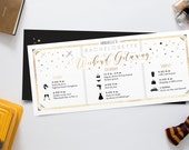 Itinerary Bachelorette Weekend Invitation, Black and Gold Starry Night Modern Invites, Weekend Getaway