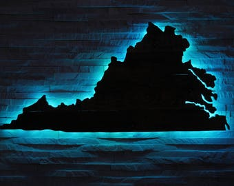 Virginia State Wall Art - Repurposed Rustic Pallets & LED Lights