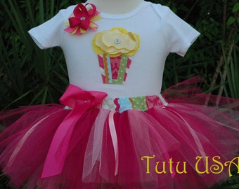 Cupcake  Baby Girl 1st Birthday Tutu Outfit Sewn and Hand Cut Includes Bow for Hair On a Clip Or Headband