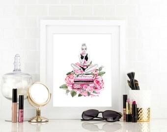 Fashion illustration - Fashion Watercolor Print - Teen Girl Wall Art - Teen Girl Gift - Chanel Decorations - Teen Girl Room Decor