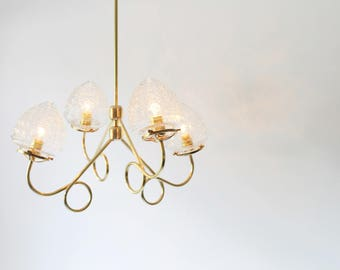 Brass Chandelier, 4 Fluted Arms, Glass Acorn Globe Shades, Modern Hanging Lighting Pendant Fixture