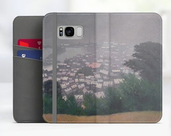 "Felix Vallotton ""Honfleur in the Mist"" Art Samsung Galaxy S8 folio case iPhone 7 folio case Galaxy S9 folio Phone case. WC-FVA-01"