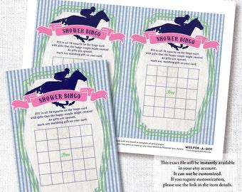 PREPPY SEERSUCKER Pferd Brautdusche Spielkarte diy sofort Digital download druckbare Datei aus zum Altar Derby Rennen Partei Bingospiel