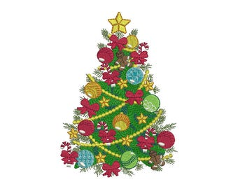 Christmas Tree Embroidery Design - 5 SIZES