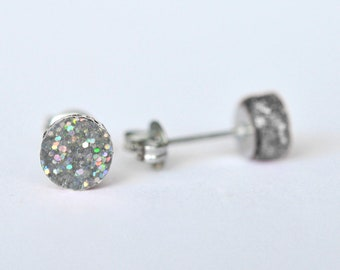 Silver Holographic Glitter Dot Perspex Stud Earrings