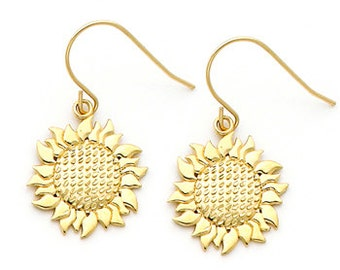 14K gold Sunflower Earring on Fish Hook Wires