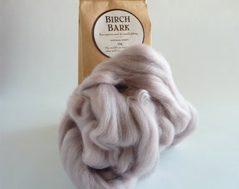 Pinky grey roving, 25g, 1oz, Birch Bark, 21 micron, merino roving, merino tops, felting wool, needle felt wool, wet felting