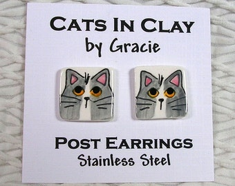 Grey & White Cat Post Earrings Handmade In Clay