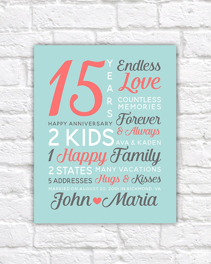 Wedding Gifts By Years: Personalized Anniversary Gifts Wedding Date Canvas Art 15th