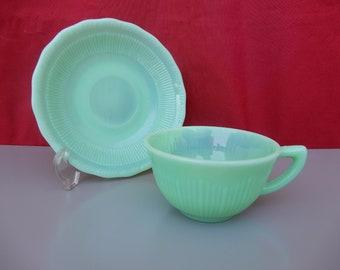 Vintage jadeite green glass tea cups NOT FIRE KING