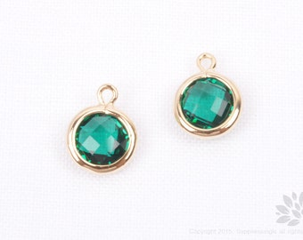 F127-02-G-EM// Gold Plated Emerald Faceted Round Glass Pendant, 2 pcs