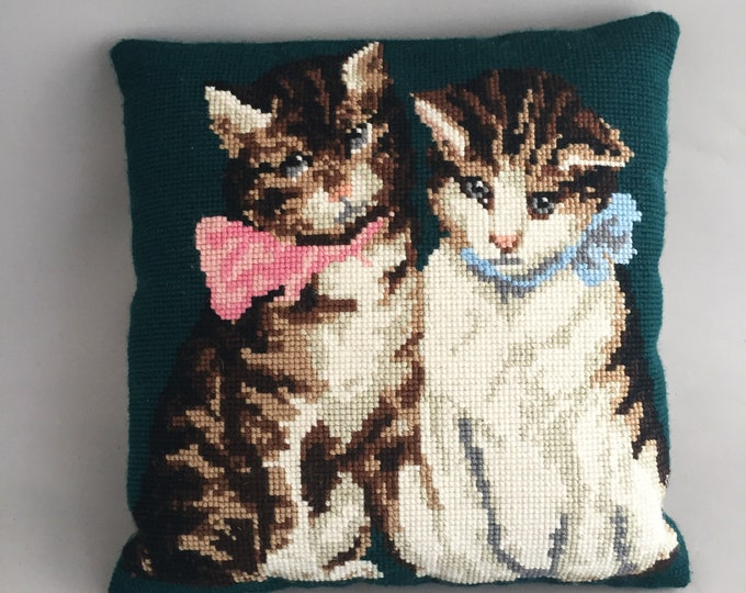 tapestry wool cat cushion