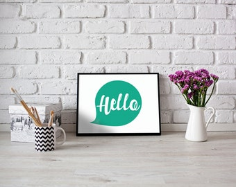 Hello - Printable, poster, wall art,  quotes, gold , typography
