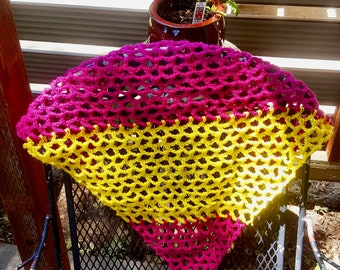 Large Pink and Yellow Stuffed Animal Hammock.