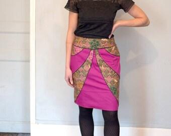 SKIRT Tulip print Cambodia and purple