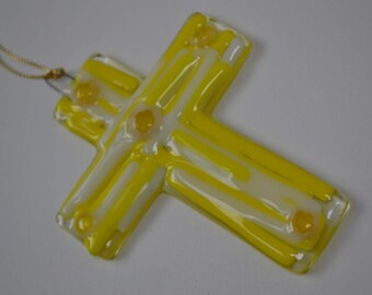 Yellow and White Fused Glass Cross Sun Catcher