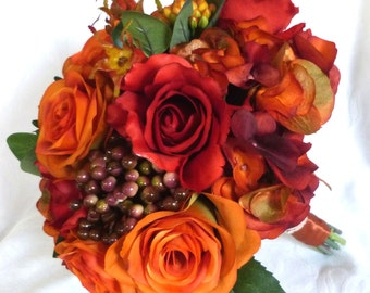 Fall color rose bouquet flowers in shades of orange and reds bouquet and boutonniere bridal bouquet set ready to ship