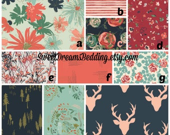 Custom Crib Bedding Woodland fusion,deer,trees,floral,bumper,skirt,fitted sheet