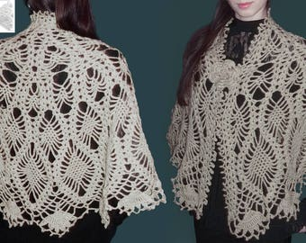 Crochet shawl PATTERN, warm crochet wrap pattern, CHARTS and basic instructions in English, charts are not interpreted in words!