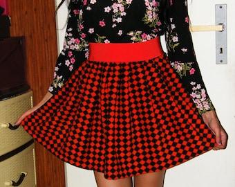 Black and Red Fleece Celtic Skirt Elastic Waist