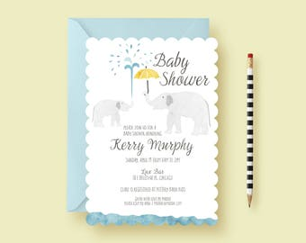 Watercolor Elephant Baby Shower Invitations, Elephant Baby Shower Invitations for Boys or Girls, Sprinkle, Printable Invitation or Printed