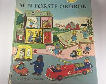 Min Forste Ordbok - My First Wordbook (Dictionary) by Richard Scarry, Norwegian to English, 1973 Hardback