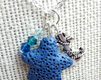 Star of the Sea Nautical Diffuser Necklace Essential Oil Jewelry Aromatherapy Gift Anxiety Relief Bridesmaid Gift Lava Stone Swarvoski Beads