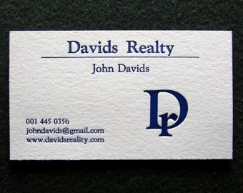 50 Letterpress Business Cards with Logo, Choice of 1 color