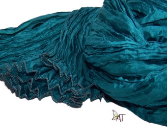 Hand dyed silk scarf - 4 sizes - crinkle scarf - PETROL