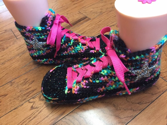 inspired converse rainbow sneaker slippers List top Womens slippers converse shoe 301 converse tennis rainbow 9 7 Crocheted slippers high Pqfx0