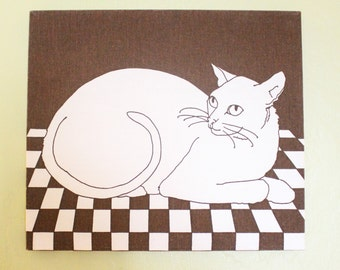 Vintage Marushka Cat Screen Print Wall Hanging ~ Brown and White Checkered With Cat ~ Retro Marushka Silk Screen ~ 16 inches by 14 inches