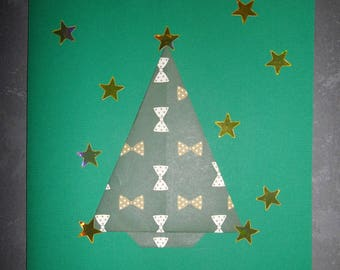 Christmas: Christmas card with tree in origami stars 15.5 x 15.5 cm