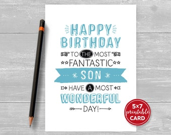 "Printable Birthday Card For Son - Happy Birthday To The Most Fantastic Son, Have A Most Wonderful Day! - 5""x7""- Printable Envelope Template"