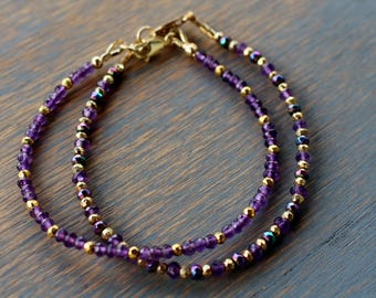 Amethyst bracelet, beaded gemstone bracelet, gemstone friendship bracelet, stacking bracelet, boho chic beaded bracelet, boho jewelry