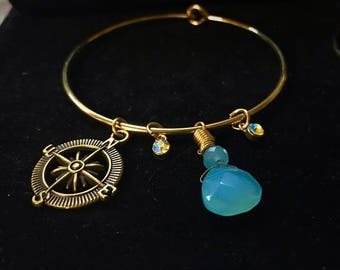 Gold Bracelet Tree of Life & Compass Beads Luck Positivity Leaf