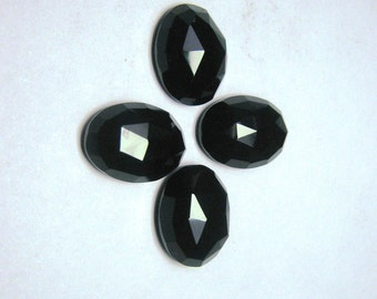 4 Pieces lot black onyx rose cut calibrated oval shape gemstones loose semiprecious gemstones size 12 x 16 mm approx