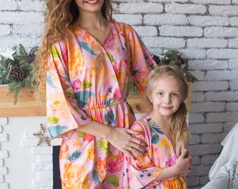 Matching Kimono style Rompers - Pinky Lilac Baby Mommy Jumpsuits, Mom and Me Pajamas, Floral pattern, Twinning, Mommy baby matching, Mini me