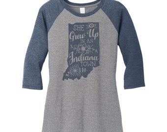 "She Grew Up In An Indiana Town. Womens Vintage Blue/Gray Raglan Tee. Tom Petty ""Last Dance with Mary Jane"" inspired Indiana baseball Tee."