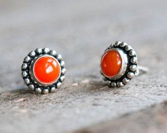 Carnelian Earrings,Carnelian Studs,Orange Carnelian,Sterling Silver Carnelian Earrings,Gemstone Earrings,Carnelian Jewelry,Everyday Earrings