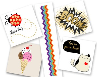 Kiddie Party Variety Pack of colorful kids metallic temporary jewelry Flash Tattoos- 25 pre-cut tattoos